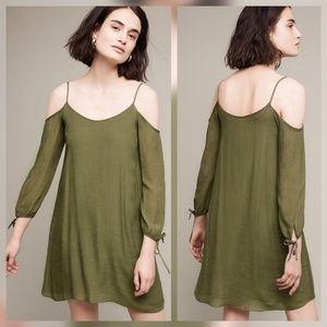 Amadi L Pelloux Open Shoulder Olive Green Dress